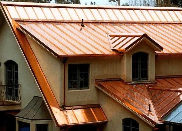 Elegant house with shiny copper roof