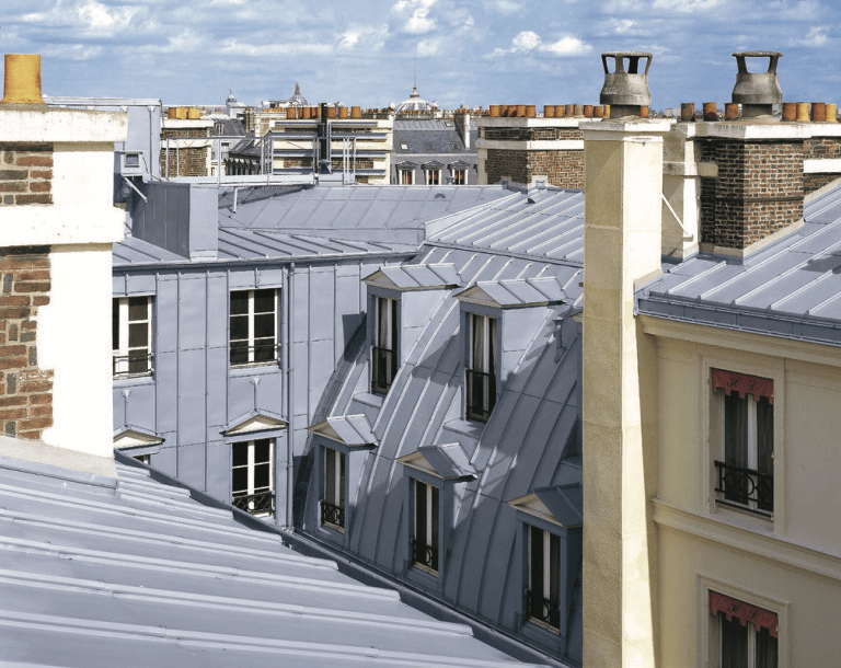 Residential apartments in Europe with Zinc metal roofs